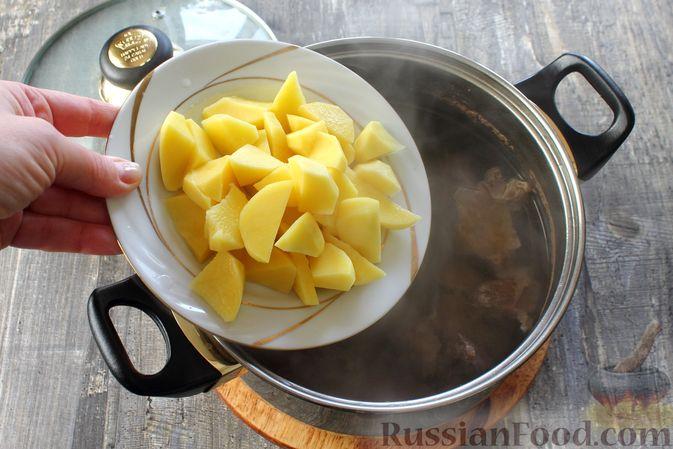Фото приготовления рецепта: Отварной картофель с творогом, зеленью и чесноком - шаг №7