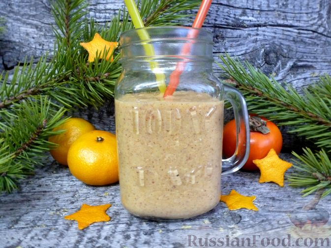 Фото к рецепту: Молочный коктейль с хурмой и мандаринами