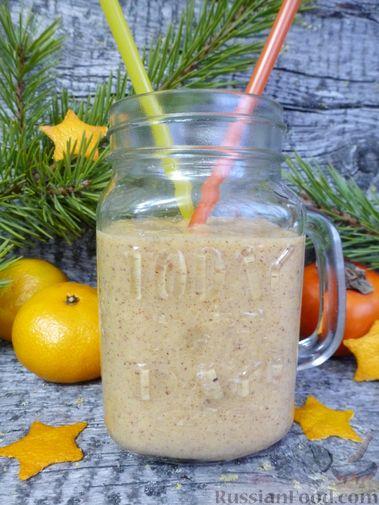 Фото приготовления рецепта: Молочный коктейль с хурмой и мандаринами - шаг №9
