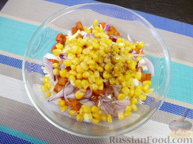 Фото приготовления рецепта: Салат из пекинской капусты с хурмой - шаг №7