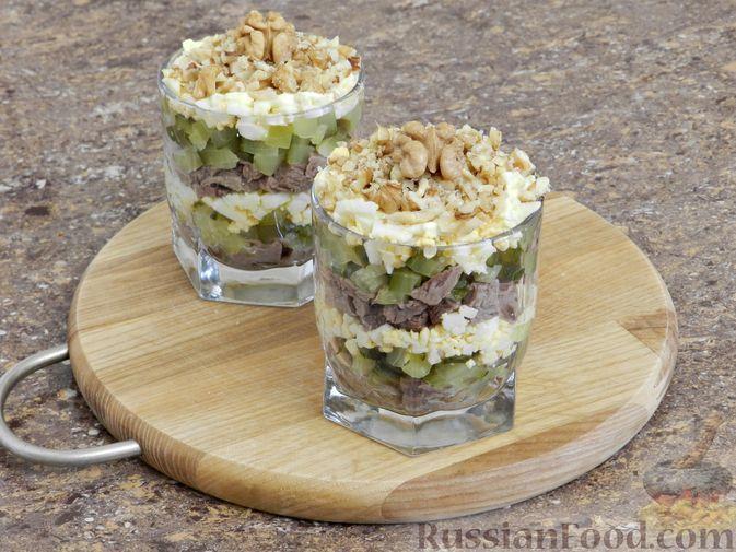 Фото приготовления рецепта: Мясной салат с орехами - шаг №12