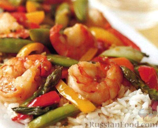 Рецепт Стир-фрай с креветками и овощами