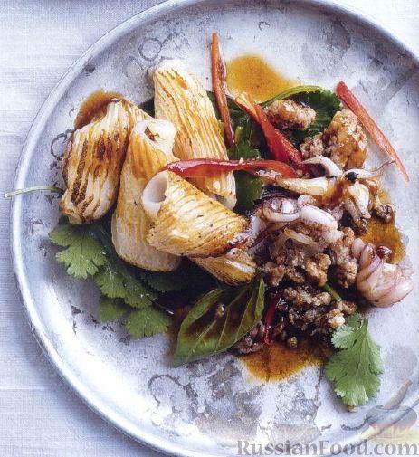 Рецепт Кальмары жареные с острой свининой
