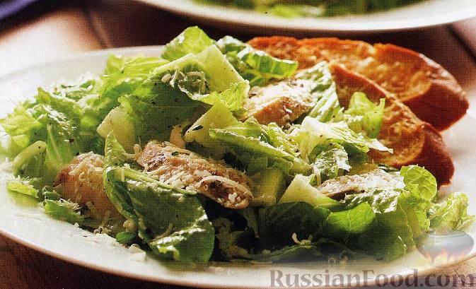 Рецепт Салат «Цезарь» с курицей и лимонной заправкой