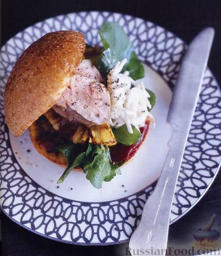 Рецепт Гамбургер со свининой и ананасом