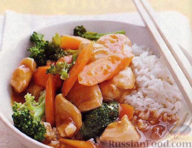 Рецепт Курица с овощами в пикантном апельсиновом соусе