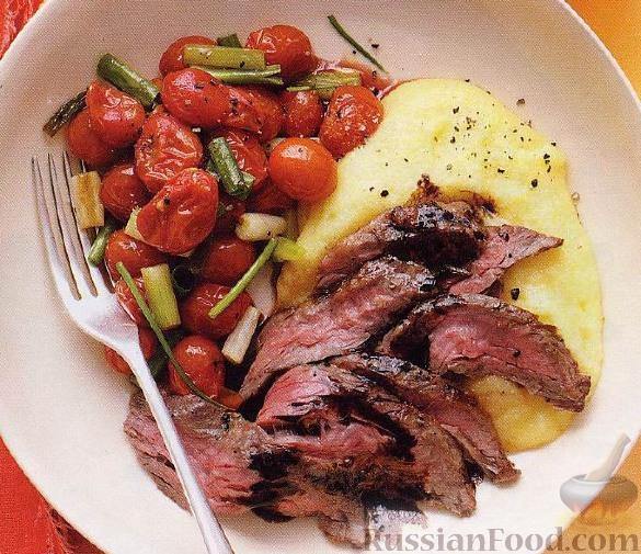 Рецепт Говядина с жареными помидорами, полентой и бальзамическим уксусом