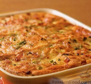 Рецепт Простая хлебная запеканка с ветчиной и сыром