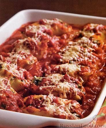 Рецепт Макароны-ракушки с индюшатиной и шпинатом