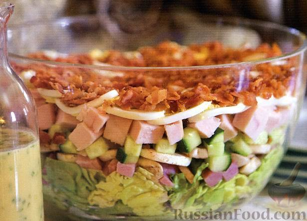 Рецепт Слоеный салат «Кобб»