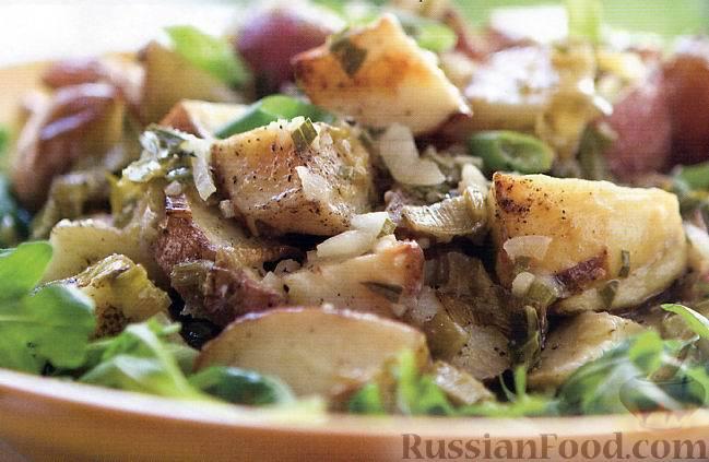 Рецепт Салат из печеного картофеля и лука-порея
