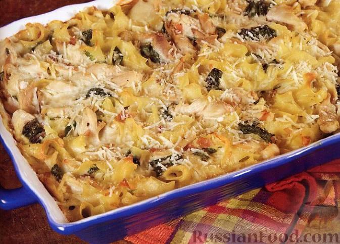 Рецепт Флорентийская макаронная запеканка с курятиной и шпинатом