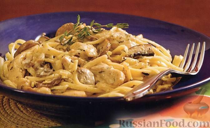 Рецепт Феттучине с курицей и грибами