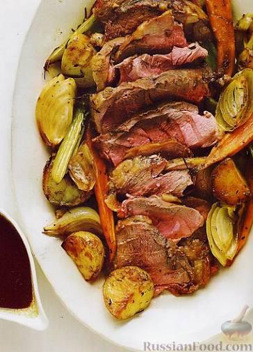 Рецепт Запеченная баранья ножка с овощами
