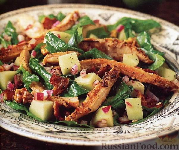 Рецепт Салат из копченой курицы с яблоками