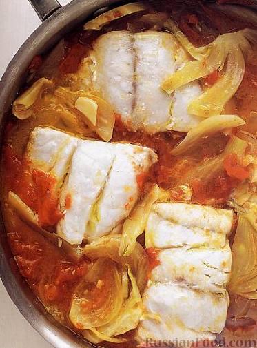 Рецепт Тушеная рыба с помидорами и фенхелем