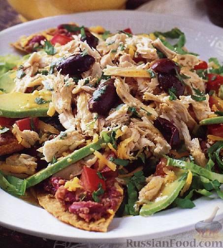 Рецепт Салат с курицей, фасолью и авокадо