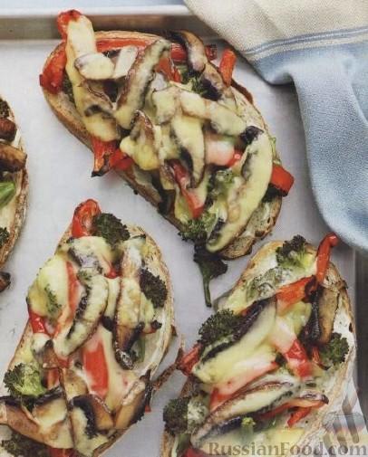 Рецепт Бутерброды с грибами, брокколи и красным перцем