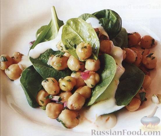 Рецепт Салат из нута со шпинатом и йогуртом