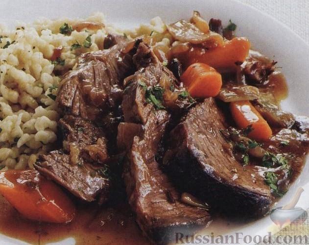 Рецепт Жаркое из маринованной говядины (Sauerbraten)