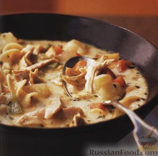 Рецепт Суп с жареной курицей и лапшой