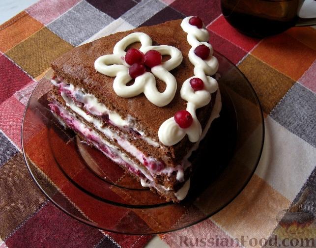 Шоколадный торт с клюквой фото