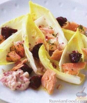 Рецепт Копченая семга со свеклой, яблоками и укропом