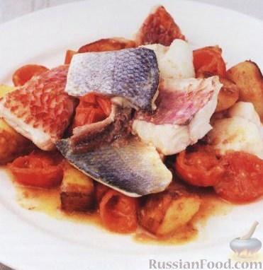 Рецепт Рыба с помидорами, луком и картошкой