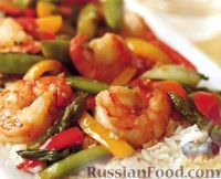 Фото к рецепту: Стир-фрай с креветками и овощами
