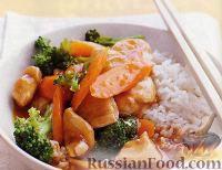 Фото к рецепту: Курица с овощами в пикантном апельсиновом соусе