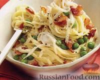 Фото к рецепту: Макароны с горошком и беконом