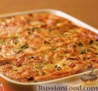 Фото к рецепту: Простая хлебная запеканка с ветчиной и сыром