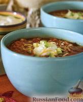 Фото к рецепту: Суп куриный с чипсами «тортилья»
