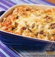Фото к рецепту: Хлебная запеканка с курицей, грибами и спаржей