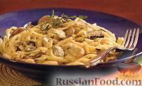 Фото к рецепту: Феттучине с курицей и грибами