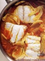 Фото к рецепту: Тушеная рыба с помидорами и фенхелем