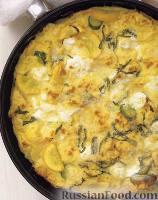 Фото к рецепту: Фриттата с кабачками и козьим сыром