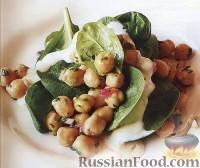 Фото к рецепту: Салат из нута со шпинатом и йогуртом