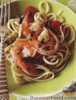 Фото к рецепту: Макароны «лингвини» с креветками и овощами
