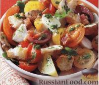 Фото к рецепту: Салат с панчеттой, грибами и моцареллой