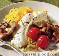Фото к рецепту: Окунь с тыквой и грибами под кисло-сладким соусом