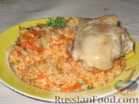 Фото к рецепту: Рис с овощами и курицей