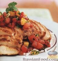 Фото к рецепту: Курица с имбирно-арбузной сальсой
