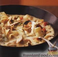 Фото к рецепту: Суп с жареной курицей и лапшой