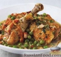 Фото к рецепту: Курица с панчеттой, горошком и мятой