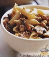 Фото к рецепту: Пенне с грибами и грецкими орехами