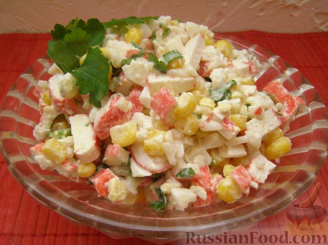 салат с крабовых палочек рецепт с фото