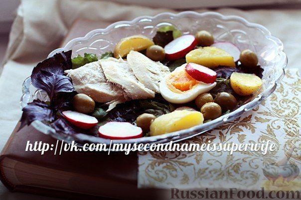 Рецепт Зеленый салат с курицей