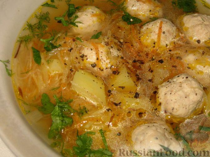 Рецепт Суп с куриными фрикадельками и кольраби