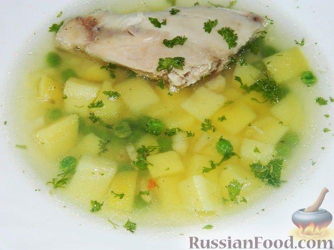 Рецепт Картофельный суп с курицей и зеленым горошком